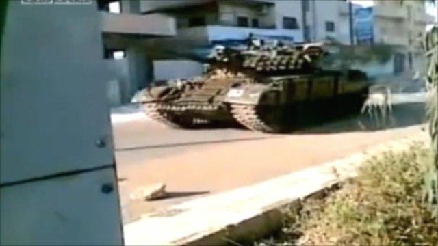 Amateur footage of tank