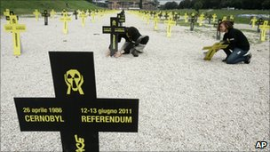 Greenpeace activists set up crosses marking the 25th anniversary of the nuclear explosion at Chernobyl, in Rome's ancient Circus Maximus on Tuesday