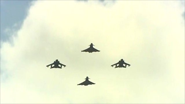 RAF Typhoons and Tornadoes flying overhead