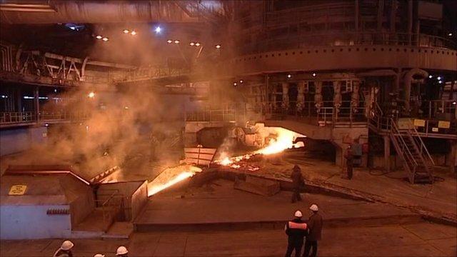 Inside a steel plant