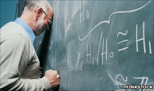 Defeated-looking man with head leaning on blackboard