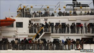 Evacuees on a the Red Star ferry from Misrata, Libya (28 April 2011)