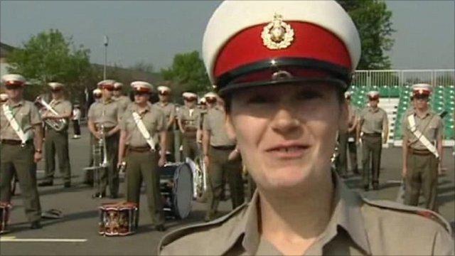 Royal Marine band members sending best wishes