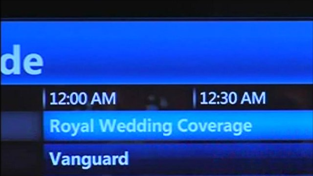 US digital television guide showing midnight start for royal wedding coverage