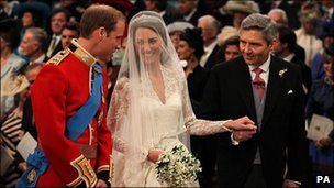 Prince William and Kate Middleton with her father Michael Middleton at Westminster Abbey