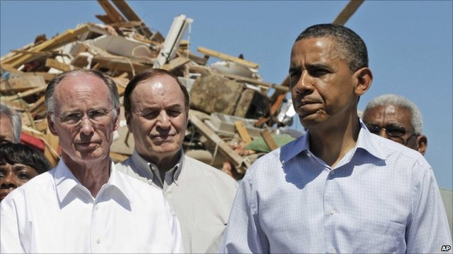 President Barack Obama with Alabama Gov Robert Bentley and Sen Richard Shelby