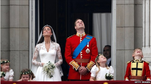 Prince William and Duchess of Cambridge on Buckingham Palace balcony