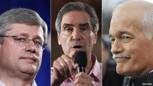 Conservative Stephen Harper, Liberal Michael Ignatieff and Jack Layton of the New Democratic Party