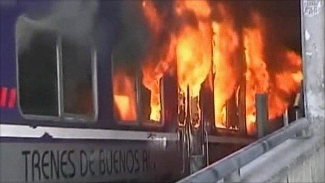 A train on fire