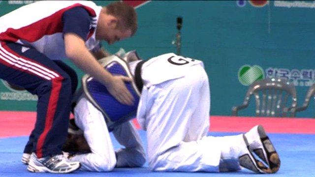 Sarah Stevenson reacts to winning gold at the Taekwondo World Championships in South Korea