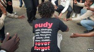 Activists at trial of killers of gay rights activist Eudy Simelane (2009)