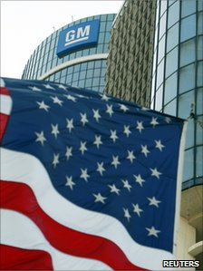 American flag outside the GM HQ