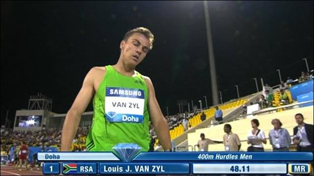 Van Zyl storms to Diamond League 400m hurdles win