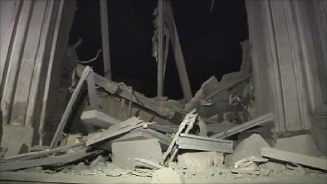 Building reportedly damaged by Nato airstrike