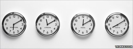 Clocks showing different time zones