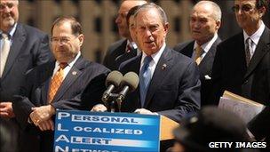 New York Mayor Michael Bloomberg speaks near Ground Zero about the new alert system