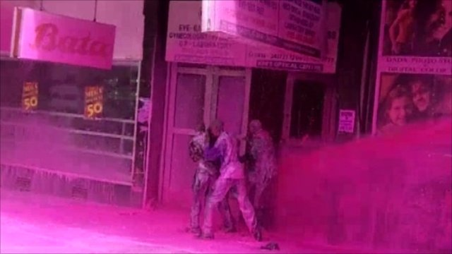 Politicians sprayed pink