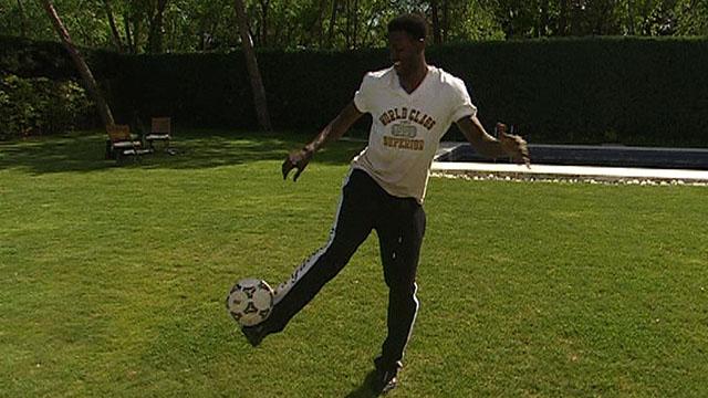 Real Madrid's Emmaunel Adebayor shows his skills