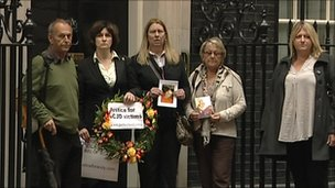 Christine Lord and other parents outside 10 Downing Street