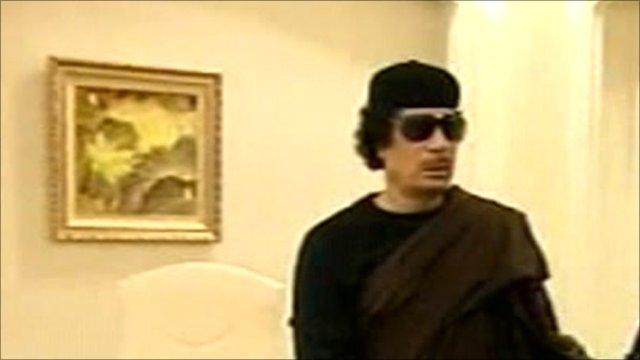 Col Muammar Gaddafi on Libyan state TV