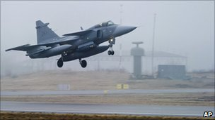 Swedish airforce jet takes off from base in Sweden to join the Nato-led operation in Libya