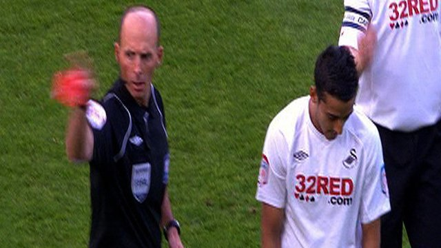 Swansea's Neil Taylor is sent off