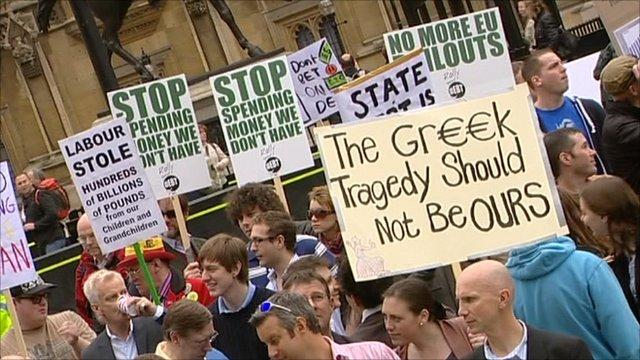Pro-cuts demonstration in London