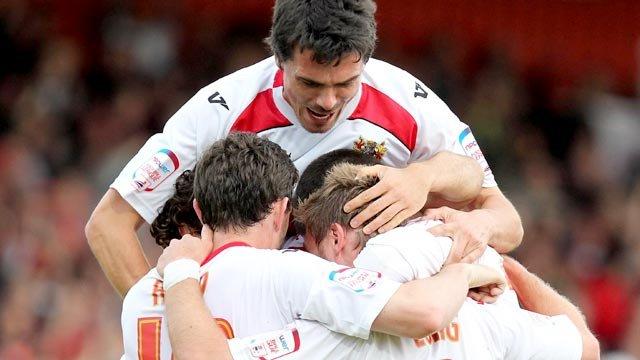 Stevenage celebrate their first goal