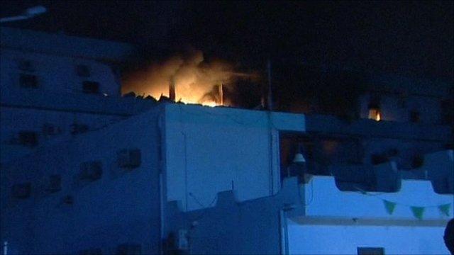 Building on fire in Tripoli