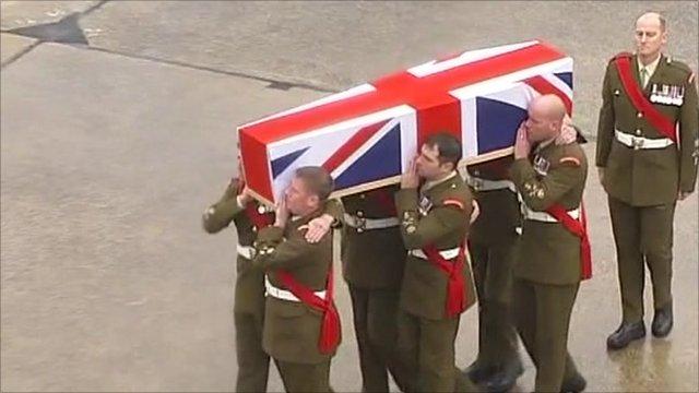 Fallen soldier's coffin