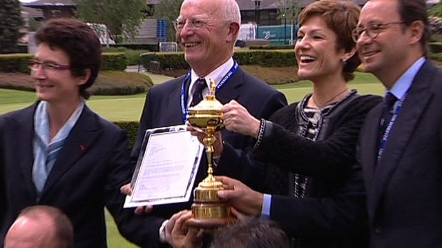 Delighted members of the France bid team with the Ryder Cup