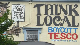 'Boycott Tesco' mural in Bristol