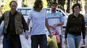 From left, Nigel Chandler, Manu Brabo, James Foley and Clare Morgana Gillis, Tripoli, 17 May