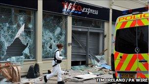 Vandalised Tesco store in Bristol