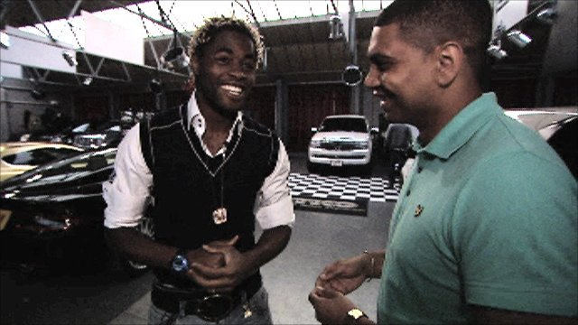 Arsenal's Alex Song and BBC Sport's Leon Mann