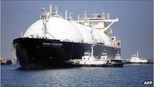 Picture of a giant liquefied natural gas tanker