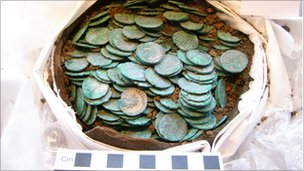 The pot containing the Roman coins