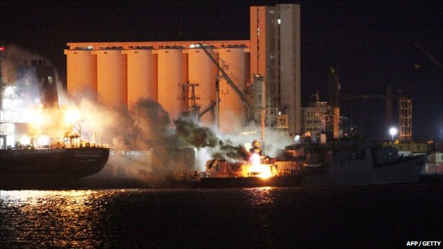 Warships on fire