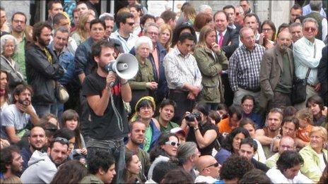 Protesters at Puerta del Sol, Madrid, May 2011