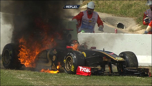 Nick Heidfeld's Renault on fire