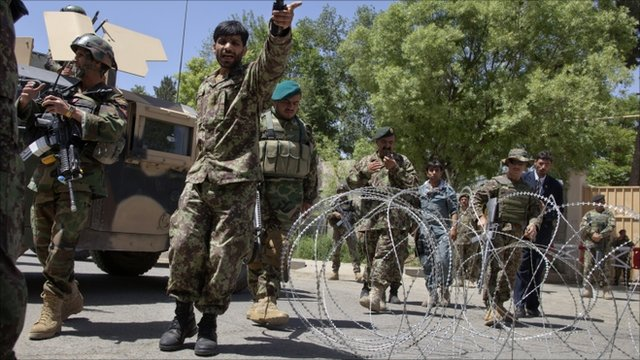 Aftermath outside Afghan hospital attack