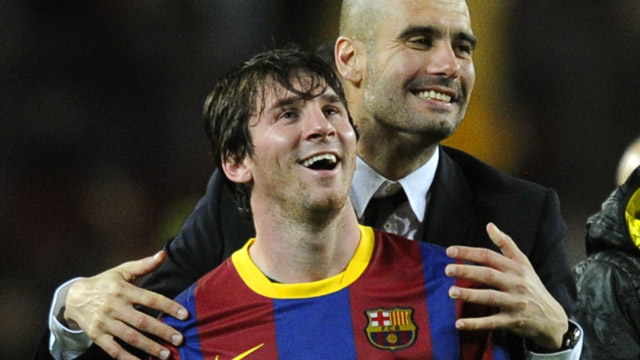 Barcelona coach Pep Guardiola and star player Lionel Messi