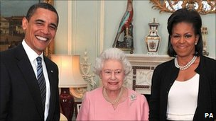 US President Barack Obama, Queen Elizabeth II and Michelle Obama in London. Photo: 2009