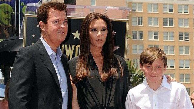 Simon Fuller, Victoria Beckham and Brooklyn Beckham.