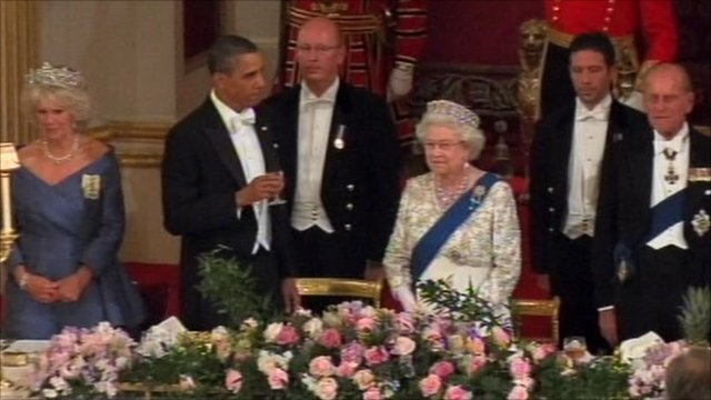 President Obama toasts the Queen