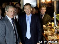 Former US President George Bush  and former UK Prime Minister Tony Blair