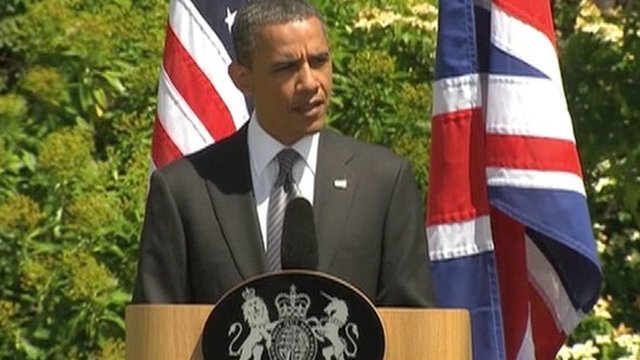 President Obama speaking in London