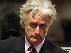 Bosnian Serb wartime leader Radovan Karadzic UN's Yugoslav war crimes court in The Hague on August 29, 2008