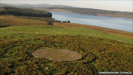 A modern cairn overlooking Lake Brenig, Denbighshire