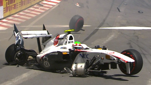 Sergio Perez collides with a safety barrier in Monaco